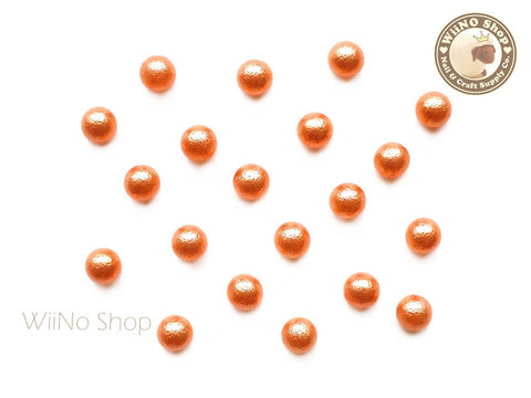 5mm Orange Cotton Pearl Beads Nail Art Decoration (No Hole) - 10 pcs