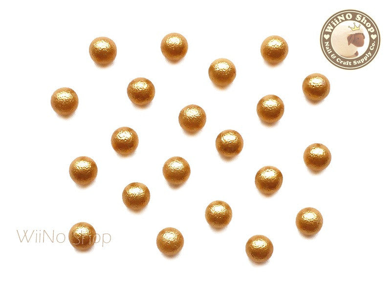 5mm Gold Cotton Pearl Beads Nail Art Decoration (No Hole) - 10 pcs