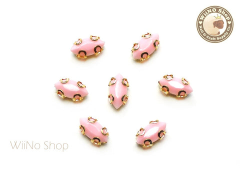 4 x 8mm Pink Marquise Acrylic Rhinestone with Setting - 5 pcs
