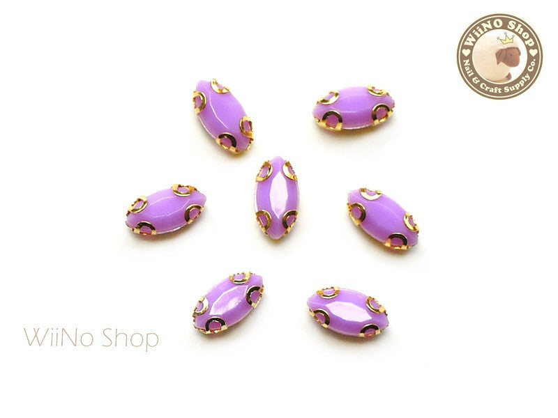 4 x 8mm Purple Marquise Acrylic Rhinestone with Setting - 5 pcs