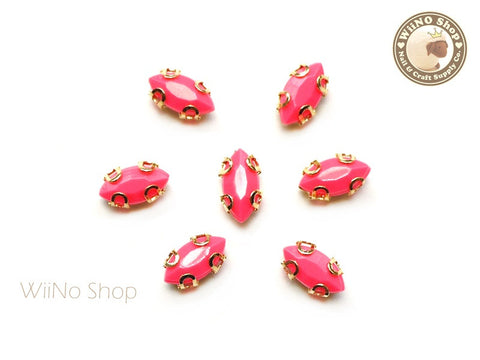 4 x 8mm Neon Pink Marquise Acrylic Rhinestone with Setting - 5 pcs