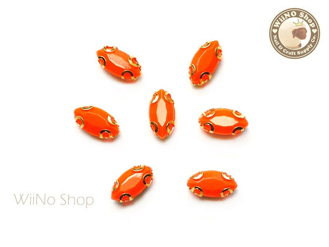 4 x 8mm Orange Marquise Acrylic Rhinestone with Setting - 5 pcs