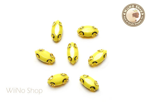 4 x 8mm Yellow Marquise Acrylic Rhinestone with Setting - 5 pcs