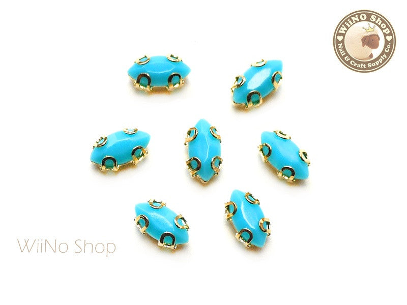 4 x 8mm Blue Marquise Acrylic Rhinestone with Setting - 5 pcs