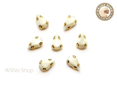 5 x 8mm Beige Drop Acrylic Rhinestone with Setting - 5 pcs