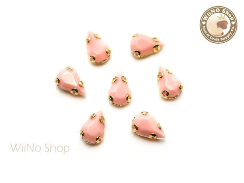 5 x 8mm Peach Drop Acrylic Rhinestone with Setting - 5 pcs