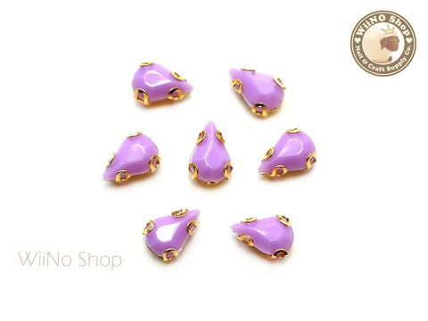 5 x 8mm Purple Drop Acrylic Rhinestone with Setting - 5 pcs