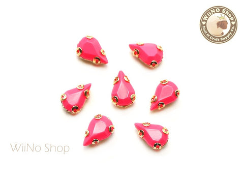 5 x 8mm Neon Pink Drop Acrylic Rhinestone with Setting - 5 pcs