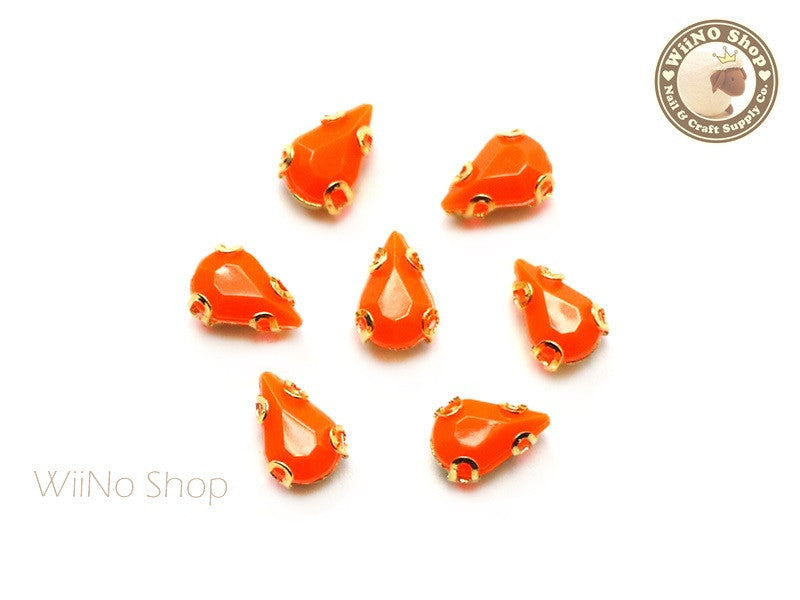 5 x 8mm Orange Drop Acrylic Rhinestone with Setting - 5 pcs