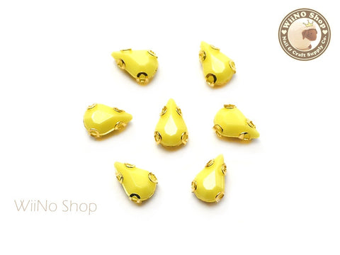 5 x 8mm Yellow Drop Acrylic Rhinestone with Setting - 5 pcs
