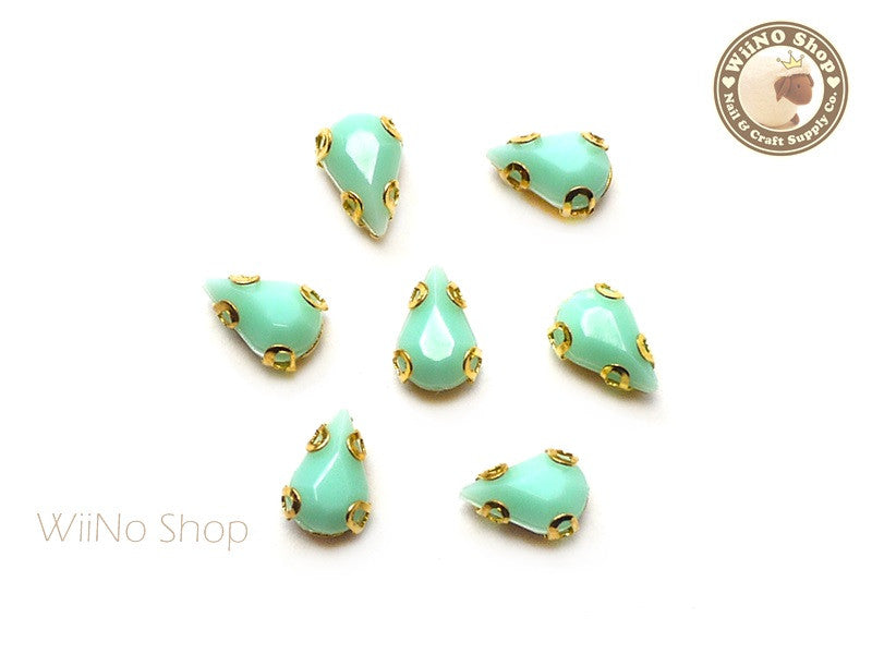 5 x 8mm Mint Drop Acrylic Rhinestone with Setting - 5 pcs