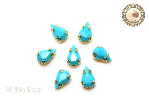 5 x 8mm Blue Drop Acrylic Rhinestone with Setting - 5 pcs