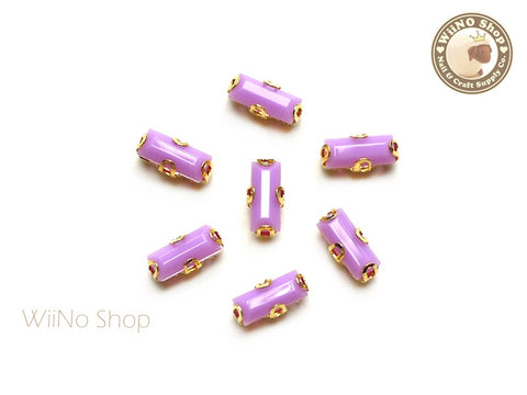 3 x 7mm Purple Rectangle Acrylic Rhinestone with Setting - 5 pcs