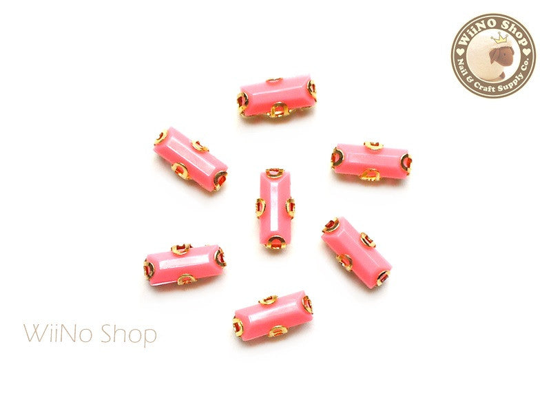 3 x 7mm Coral Rectangle Acrylic Rhinestone with Setting - 5 pcs