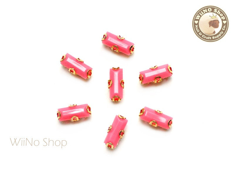 3 x 7mm Rose Pink Rectangle Acrylic Rhinestone with Setting - 5 pcs