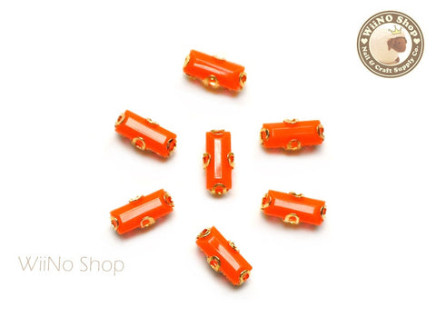3 x 7mm Orange Rectangle Acrylic Rhinestone with Setting - 5 pcs