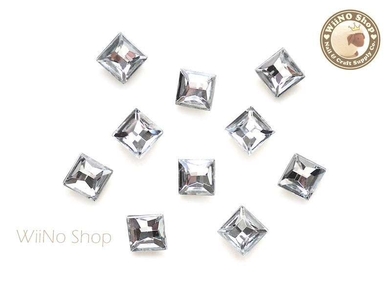 8mm Clear Square 3D Point Back Acrylic Rhinestone - 15 pcs