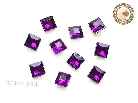 8mm Purple Violet Square 3D Point Back Acrylic Rhinestone - 15 pcs