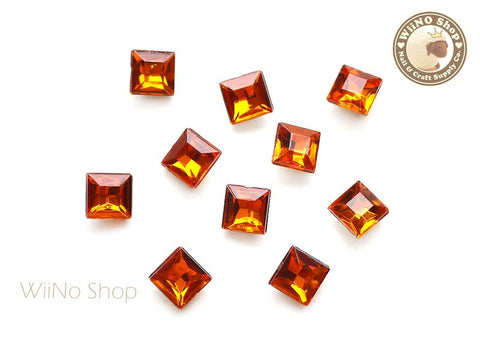 8mm Orange Fireopal Square 3D Point Back Acrylic Rhinestone - 15 pcs