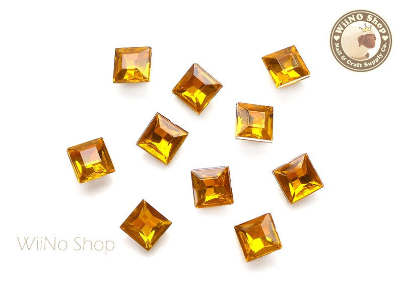 8mm Yellow Topaz Square 3D Point Back Acrylic Rhinestone - 15 pcs