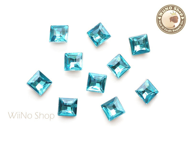8mm Blue Aquamarine Square 3D Point Back Acrylic Rhinestone - 15 pcs