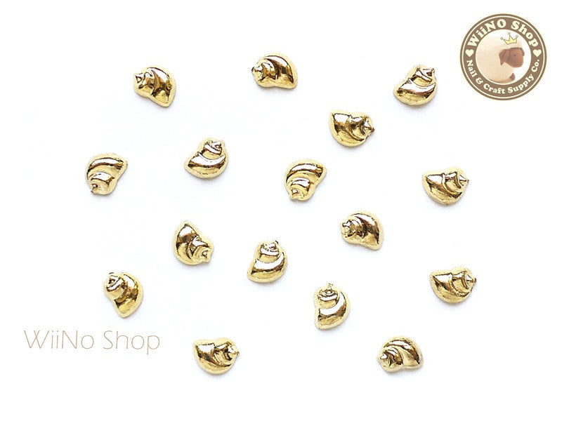 Gold Spiral Seashell Metal Studs - 10 pcs