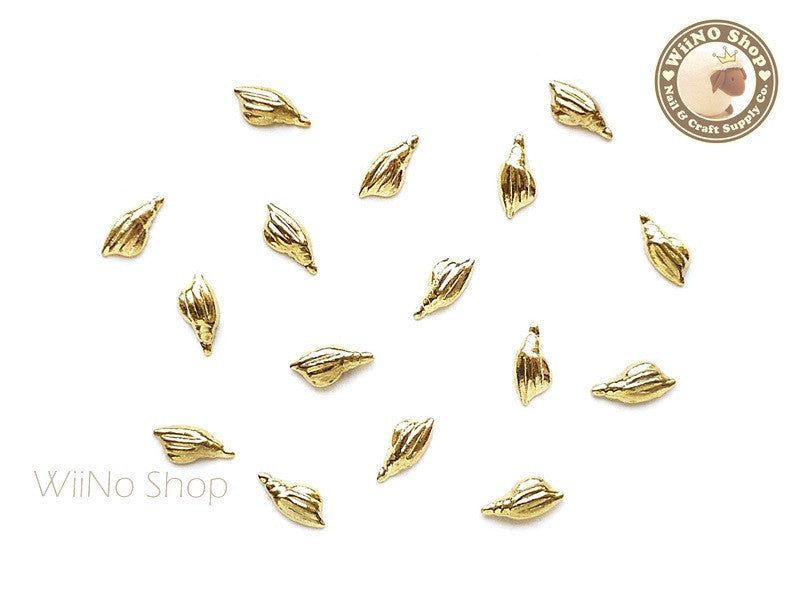 Gold Tulip Seashell Metal Studs - 10 pcs