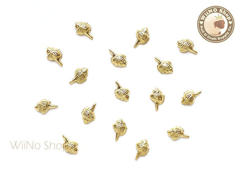 Gold Conch Seashell Metal Studs - 10 pcs