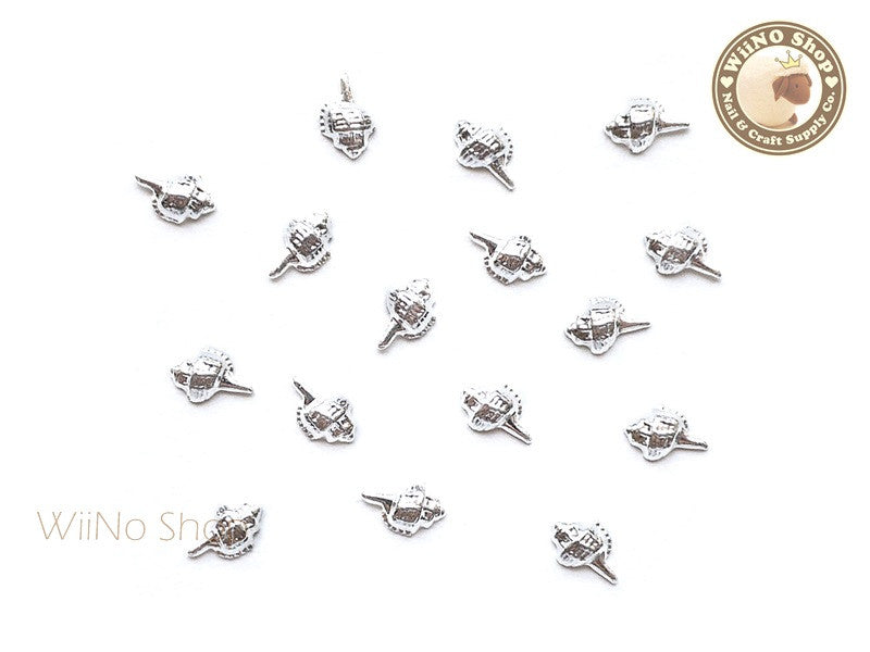 Silver Conch Seashell Metal Studs - 10 pcs