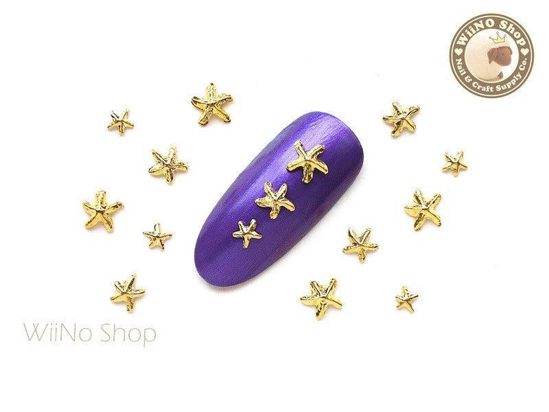 3mm 4mm 5mm Gold Starfish Nail Metal Charm Nail