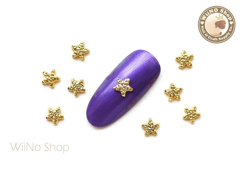 Gold Textured Star Nail Metal Charm - 4 pcs
