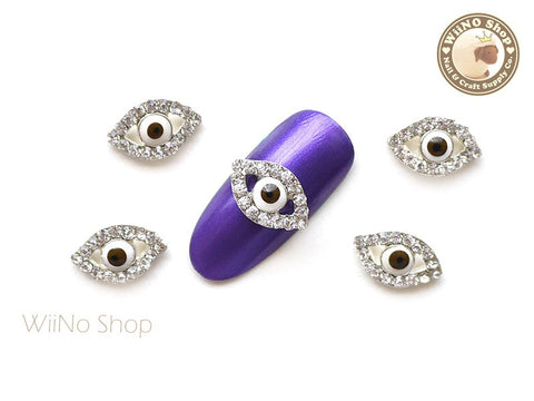 Evil Eye Brown Nail Charm Nail Art - 2 pcs