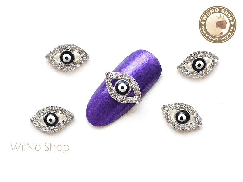 Evil Eye Black Nail Charm Nail Art - 2 pcs