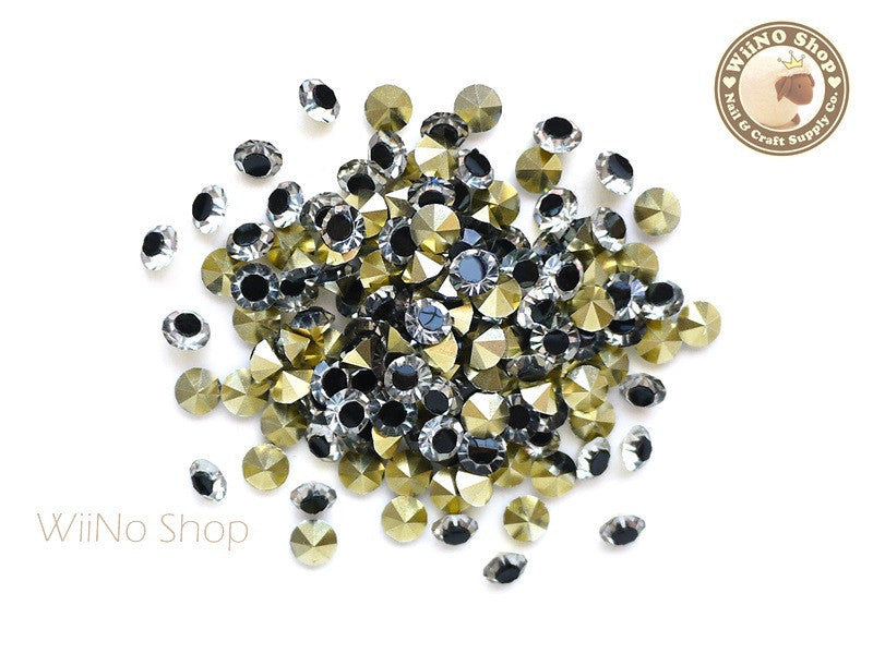 ss20 Black Clear Two Tone Round Diamond Style 3D Point Back Acrylic Rhinestone - 25 pcs