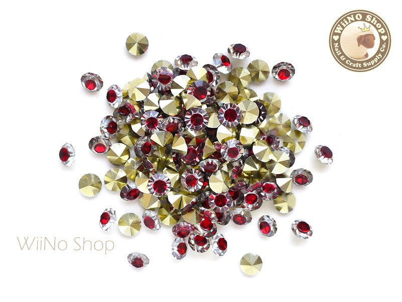 ss20 Red Clear Two Tone Round Diamond Style 3D Point Back Acrylic Rhinestone - 25 pcs