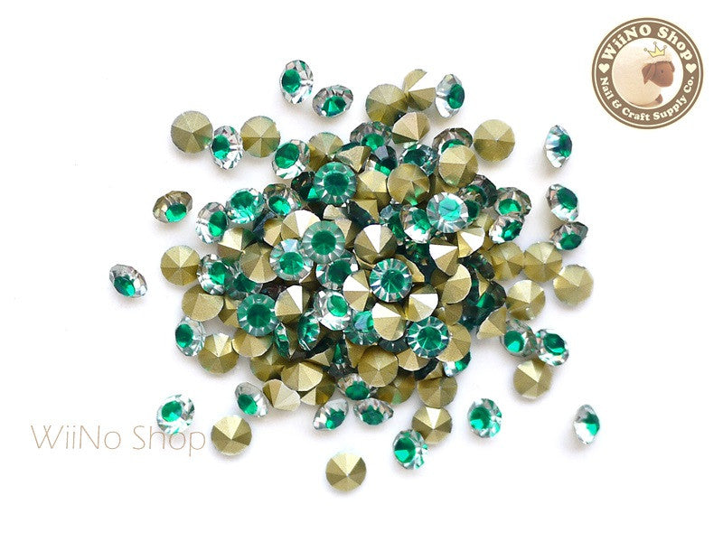 ss20 Green Clear Two Tone Round Diamond Style 3D Point Back Acrylic Rhinestone - 25 pcs
