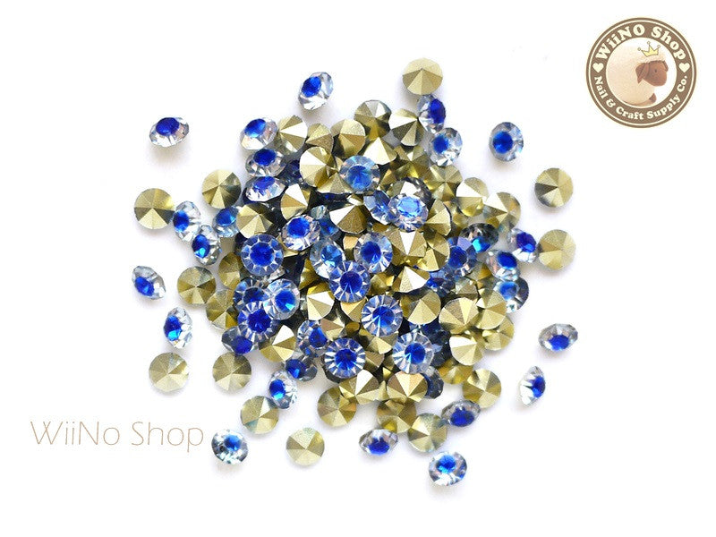 ss20 Blue Clear Two Tone Round Diamond Style 3D Point Back Acrylic Rhinestone - 25 pcs