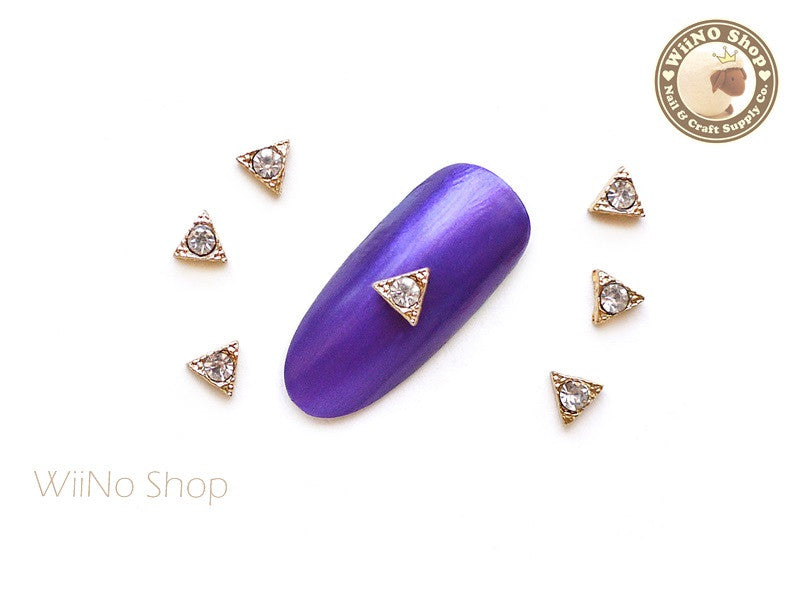 Gold Triangle with Crystal Nail Art Metal Charm - 2 pcs
