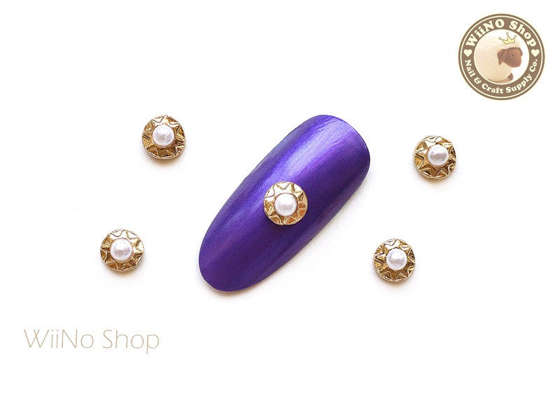 Gold Round Star Pattern with Pearl Nail Art Metal Charm - 2 pcs