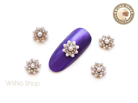 Pearl Crystal Round Flower Cluster Nail Metal Charm - 2 pcs