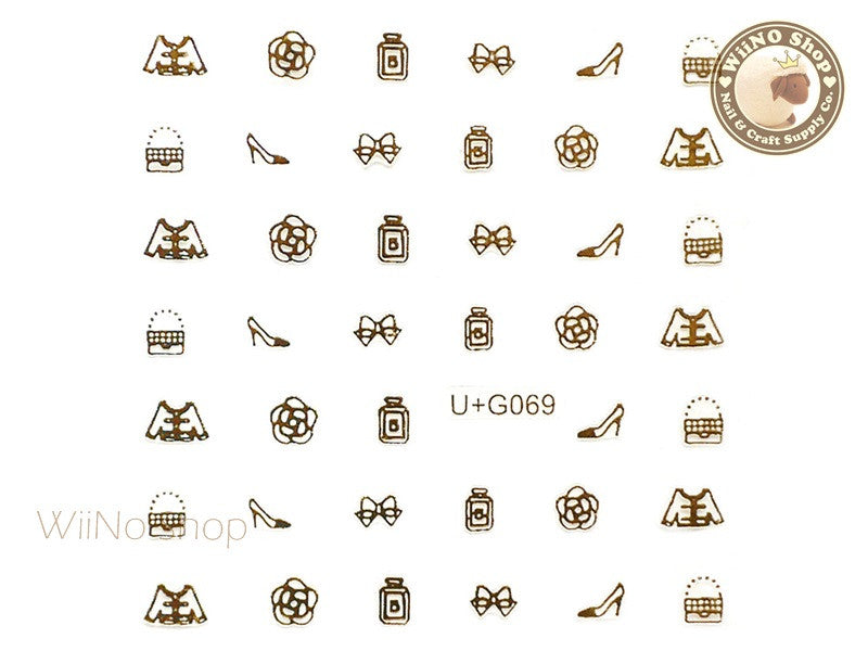 Gold CoCo Fashion Adhesive Nail Art Sticker - 1 pc (U+G069)