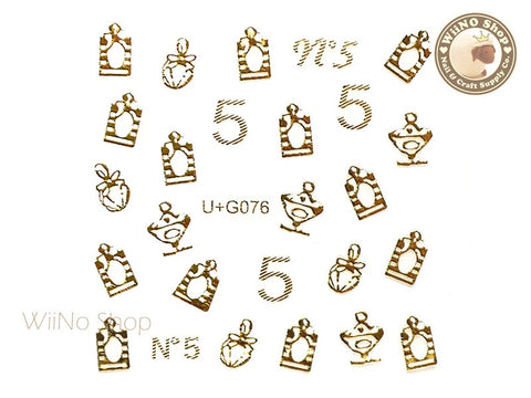 Gold Sweet Perfume Bottle Adhesive Nail Art Sticker - 1 pc (U+G076)