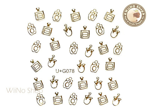 Gold Perfume Bottle Adhesive Nail Art Sticker - 1 pc (U+G078)
