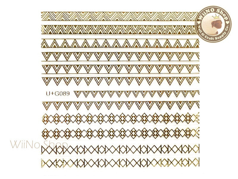 Gold Triangle Pattern Adhesive Nail Art Sticker - 1 pc (U+G089)