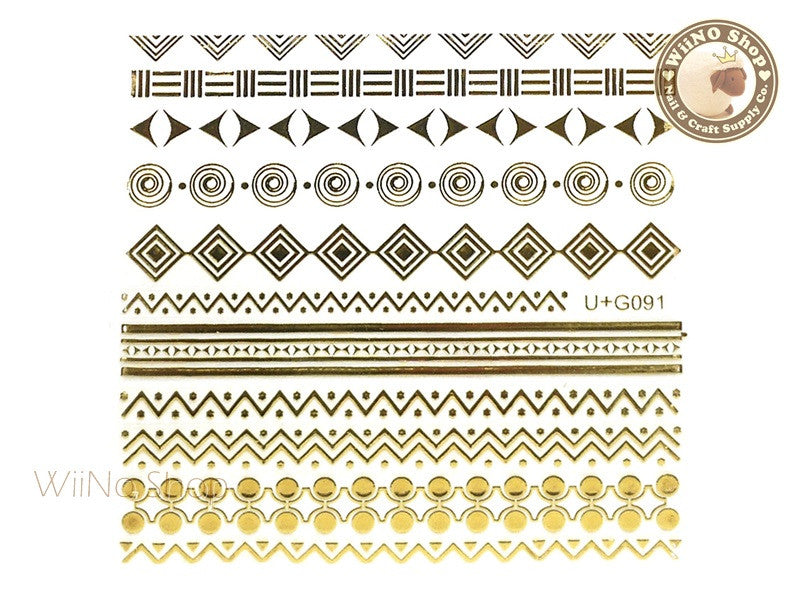 Gold Geometric Pattern Adhesive Nail Art Sticker - 1 pc (U+G091)