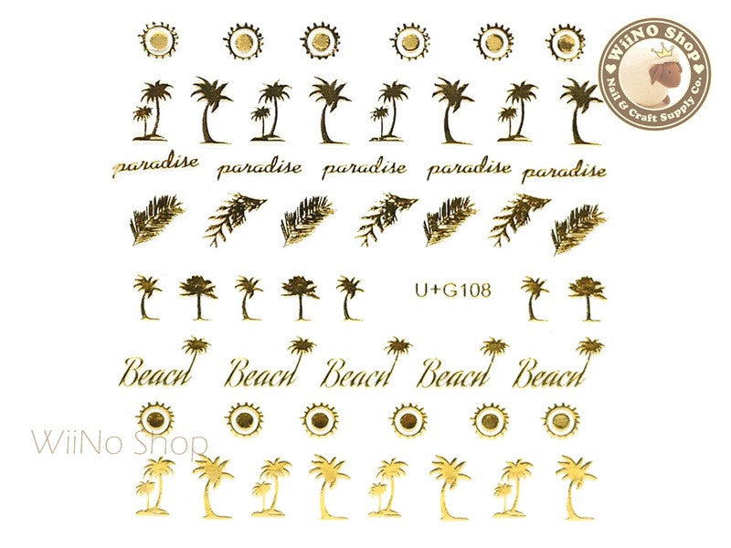 Gold Palm Tree Sun Feather Adhesive Nail Art Sticker - 1 pc (U+G108)