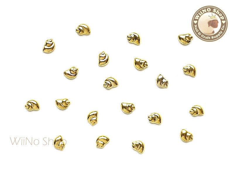 Gold Mini Spiral Seashell Metal Studs - 10 pcs