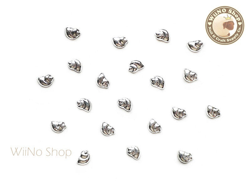 Silver Mini Spiral Seashell Metal Studs - 10 pcs