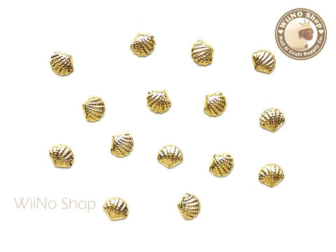 Gold Cockle Seashell Metal Studs - 10 pcs