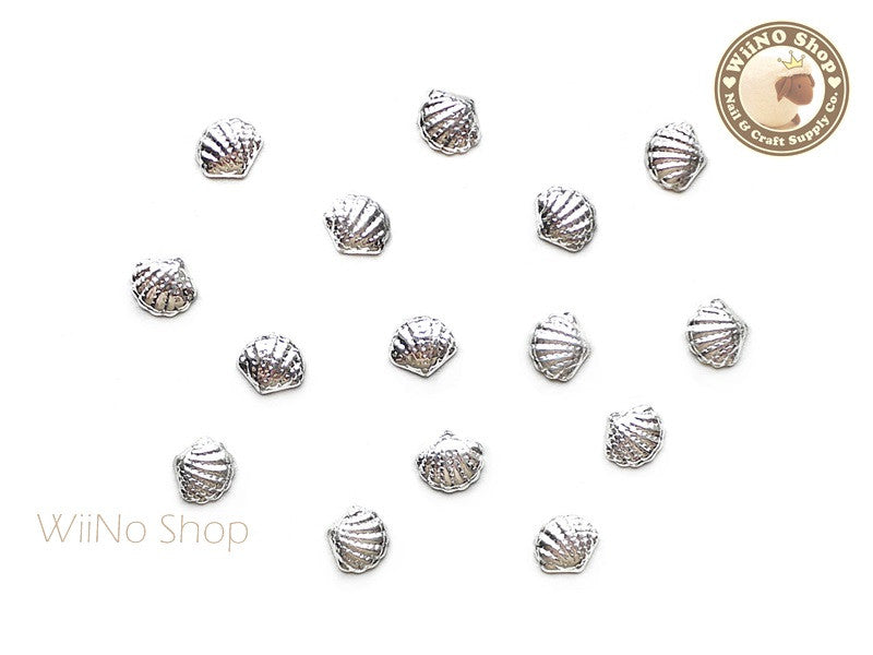 Silver Cockle Seashell Metal Studs - 10 pcs